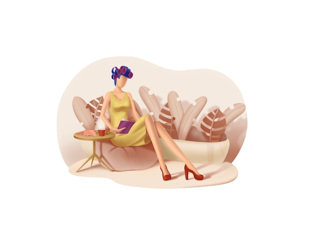 Beauty- und spa-serie: meditation mit lockenwicklern