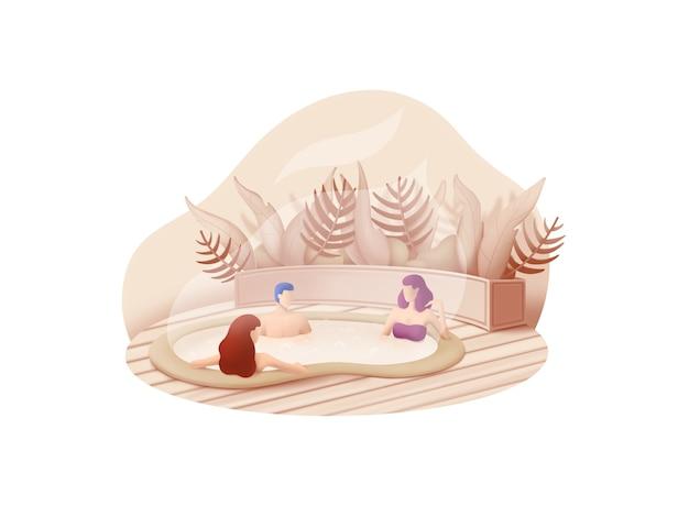 Beauty- und spa-serie: wassermassage-illustrationskonzept