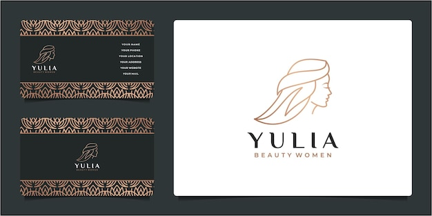 Beauty woman friseursalon gold farbverlauf logo design und visitenkarte