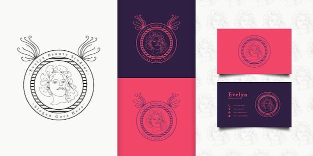 Beauty woman logo mit welligem haar im linearen stil für mode-, salon-, kosmetik- oder beauty studio-logos
