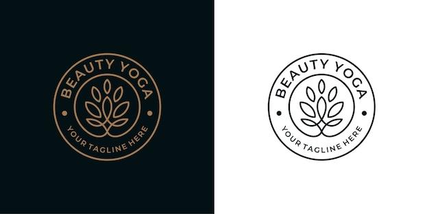Beauty yoga vintage line art logo design