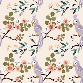 Beautyful vogel des nahtlosen musters mit vielen blume