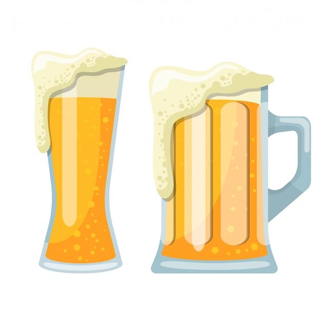 Becher der bierentwurfsillustration lokalisiert auf weißem hintergrund