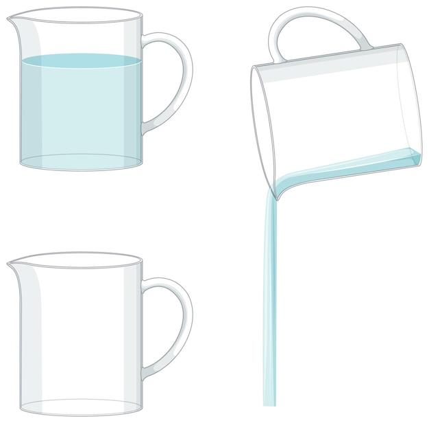 Becher gefüllt mit wasser und leerer becher