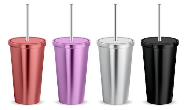 Becher. kaffeeglas, edelstahl-thermotasse mit deckel und tube.