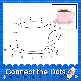 Becher kinderpuzzle verbinden sie das punktarbeitsblatt für kinder, die zahlen 1 bis 20 zählen