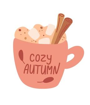 Becher mit herbstgetränk mit marshmallow und zimt. heisses getränk. kaffee, kakao und marshmallows.