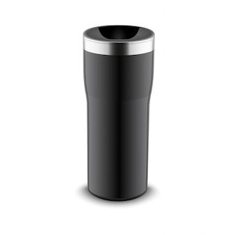 Becherflaschenbecher für die reise. thermo wasserbecher kunststoff oder metall kaffeetasse vorlage design