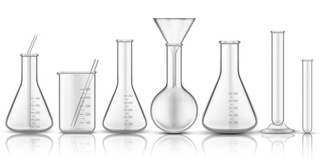 Becherglas oder messglas. satz isolierter chemiekolben oder biologie-reagenzglas, wissenschaftsröhrchen für flüssigkeit. biologie reaktionsforschung. pharmakologie und medizin, thema bildungstechnologie