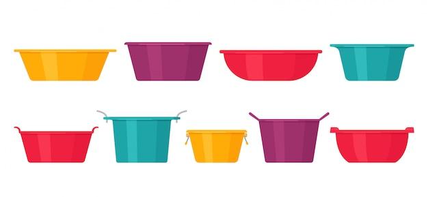 Becken. . plastikwaschschüssel. schüsselikonen in der ebene, lokalisiert. cartoon bunte abbildung. set von behältern.