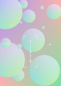 Bedecken sie die flüssigkeit mit runden formen. farbverlaufskreise auf holografischem hintergrund. moderne hipster-vorlage für plakate, banner, flyer, bericht, broschüre. minimale deckflüssigkeit in leuchtenden neonfarben.