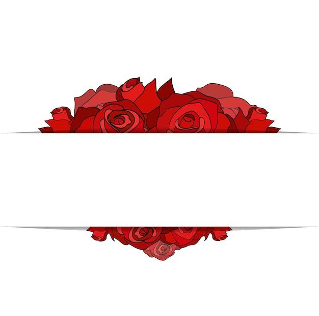 Bedecken sie mit gemalten rosen und einem platz für text für ihr unternehmen