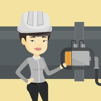 Bedienerprüfungsdetektor an der gasleitung.