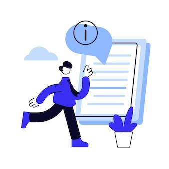 Bedienungsanleitung. kluger mann mit laptop, der handbuch studiert, führerführer-zeichentrickfigur liest.