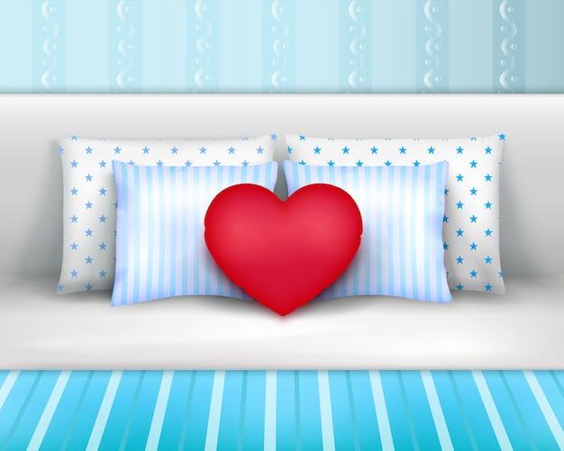 Bedlinnen pillows cushions realistic composition
