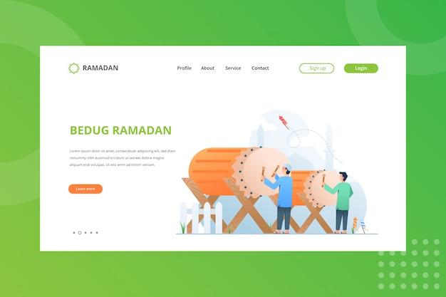Bedug festival illustration für ramadan-konzept auf landing page