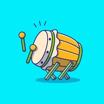 Bedug moslem drum icon illustration. ramadan-symbol-konzept isoliert. flacher cartoon-stil