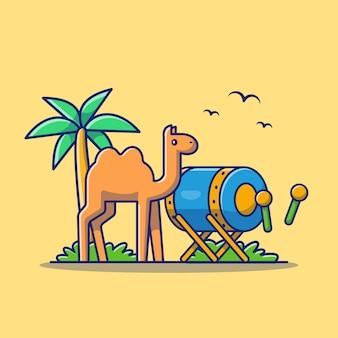 Bedug moslem drum mit kamel icon illustration. ramadan-symbol-konzept isoliert. flacher cartoon-stil