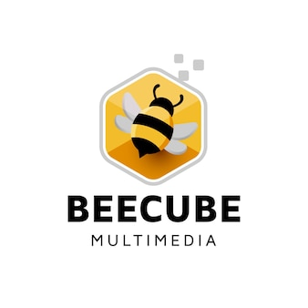 Bee digital cube logo design