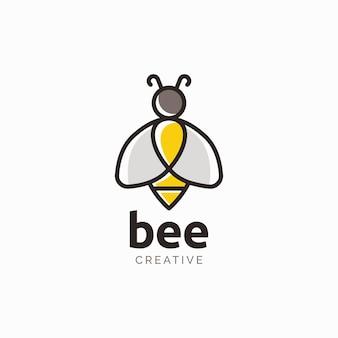 Bee natürliches logo-designkonzept