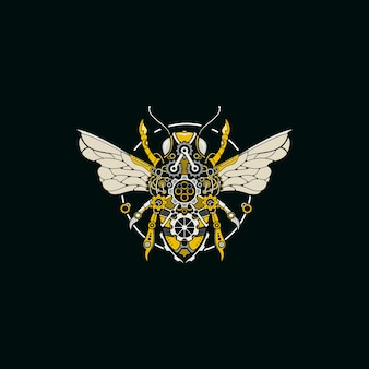 Bee steampunk illustration logo