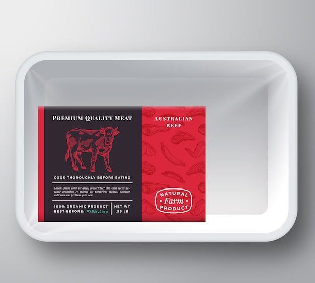Beef plastic tray container verpackungsmodell
