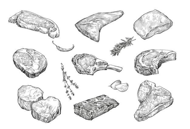 Beefsteaks handgezeichneter illustrationssatz