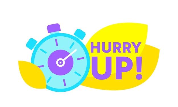 Beeilen sie den countdown mit stoppuhr. sonderangebot promotion, banner oder symbol mit zeitalarm. tolles angebot, last-minute-angebot