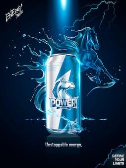 Beeindruckende energiegetränk-anzeigenillustration