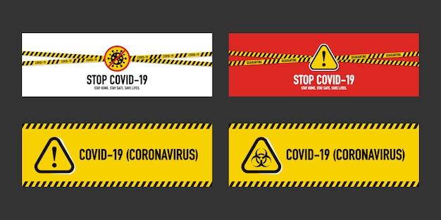 Beenden sie das quarantänekonzept von covid-19 coronavirus. sammlungen mit gelben und schwarzen streifen schützen sie und verhindern die verbreitung des virus auf andere. neuartiges coronavirus (2019-ncov).
