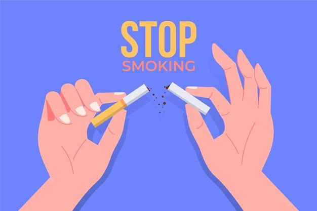 Beenden sie das rauchkonzept mit händen, die zigarette brechen