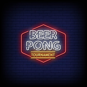 Beer pong turnier neon signs style text vektor
