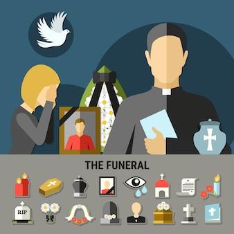 Beerdigungs- und trauerzusammensetzung
