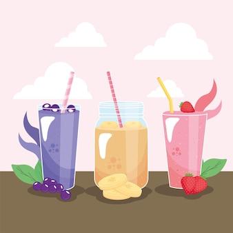 Beeren bananen und erdbeer smoothies Premium Vektoren