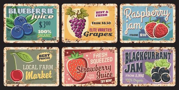 Beeren natürliche organische retro-rostige teller, markt