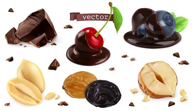 Beeren, nüsse und schokolade. blaubeere, kirsche, erdnuss, haselnuss, rosine, satz 3d