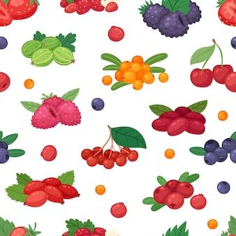 Beerenbeerenmischung von erdbeer-heidelbeer-himbeer-brombeere und roter johannisbeereillustration beerenartiger satz auf nahtlosem muster des weißen hintergrunds