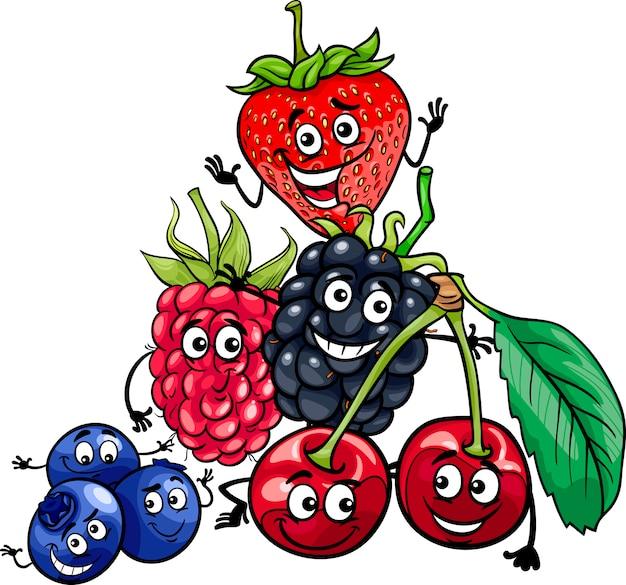 Beerenfrüchte gruppieren karikaturillustration