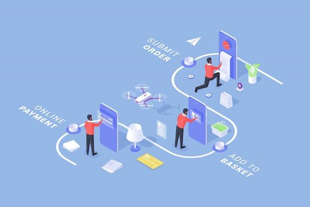 Befolgen sie die schritte eines modernen service mit online-bestellung