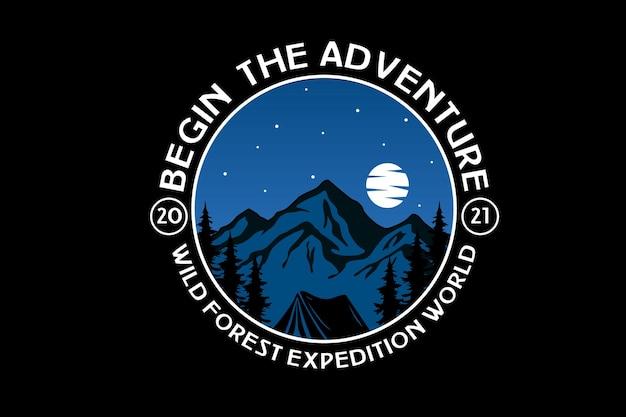 Beginnen sie das abenteuer wilde waldexpedition weltfarbe blau und weiß