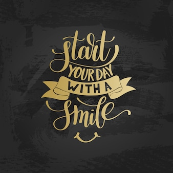 Beginnen sie ihren tag mit einer lächeln-gold-textphrase