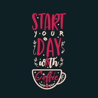 Beginnen sie ihren tag mit kaffee