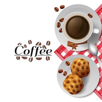 Beginnen sie tag mit tasse schwarzen kaffee mit cookies beste energizer werbung poster