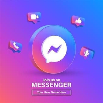 Begleiten sie uns auf dem messenger 3d-logo im modernen farbverlaufskreis für social-media-symbole oder kontaktieren sie uns banner