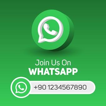Begleiten sie uns auf dem whatsapp social media square banner mit 3d-logo und benutzername-box