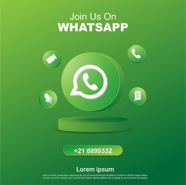 Begleiten sie uns auf whatsap-social-media-quadrat-banner mit 3d-logo
