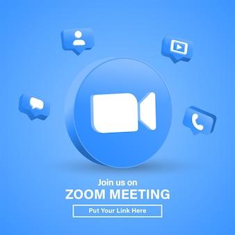 Begleiten sie uns auf zoom meeting 3d-logo im modernen kreis für social-media-symbole oder schließen sie sich uns an banner