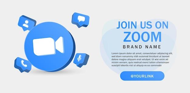 Begleiten sie uns beim zoom-meeting für social-media-symbole in 3d-rundkreis-benachrichtigungssymbolen