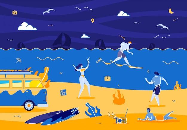 Begleitung junger leute, die am nighty beach mit einer keule schlagen