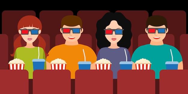 Begleitung zweier paare im kino in 3d-brille